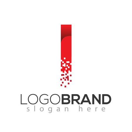I letter data tech logo concept. letter with data vector template