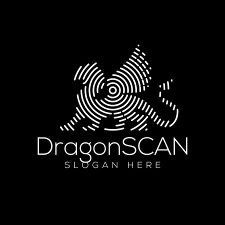 Dragon Scan Technology Logo vector Element. Animal Technology Logo Template 일러스트