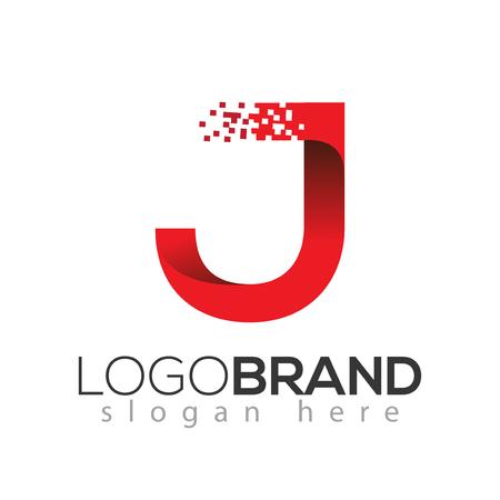 J letter data tech logo concept. letter with data vector template