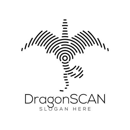 Elemento dell'icona di tecnologia di scansione del drago. Modello dell'icona di tecnologia animale