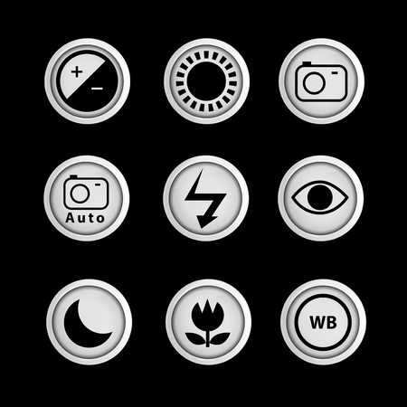 Camera Function icon set vector template. icon sign element