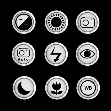 icono de la función de la cámara conjunto de plantillas de vectores. logotipo de la muestra del icono Logos