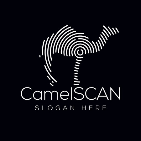 Kamel-Scan-Technologie-Logo-Vektorelement. Animal Technology Logo Vorlage