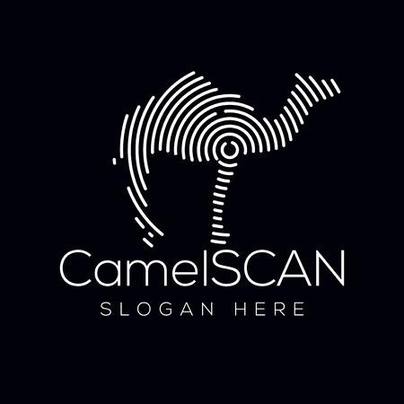 Camel Scan Technology Logo vector Element. Animal Technology Logo Template