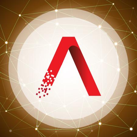 Un concept de logo de technologie de données de lettre avec le fond de technologie. lettre avec modèle de vecteur de données