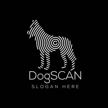 Dog Scan Technology Logo vector Element. Animal Technology Logo Template 일러스트