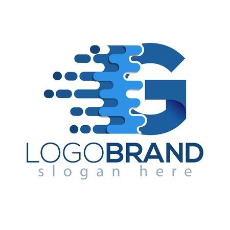 G Letter Pixel Icon Vector Logo element. Letter speed logo template Illusztráció