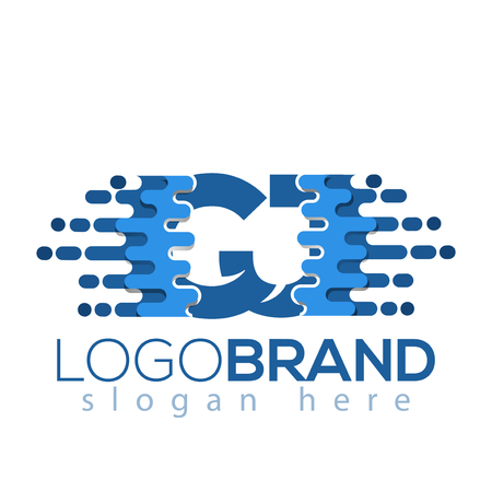 C J Letter Pixel Icon Vector Logo element. Initial Letter speed logo template Illusztráció