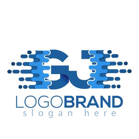 G J Letter Pixel Icon Vector Logo element. Initial Letter speed logo template