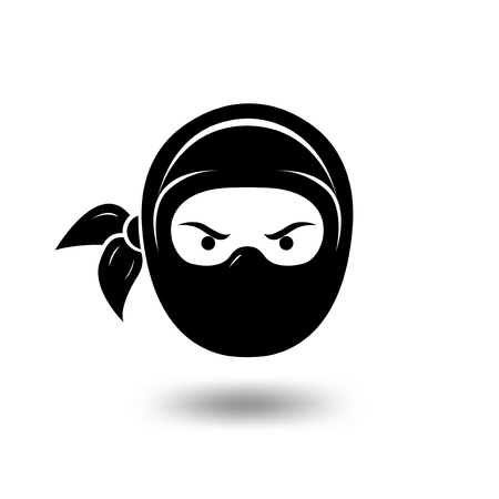 Simple black serious ninja head logo. ninja logo template Illustration