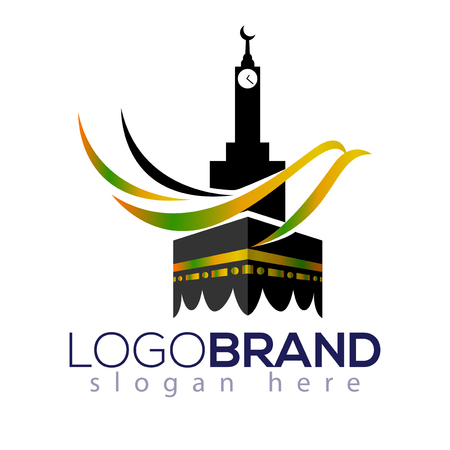 Kaaba Hajj Tour and travel vector logo template