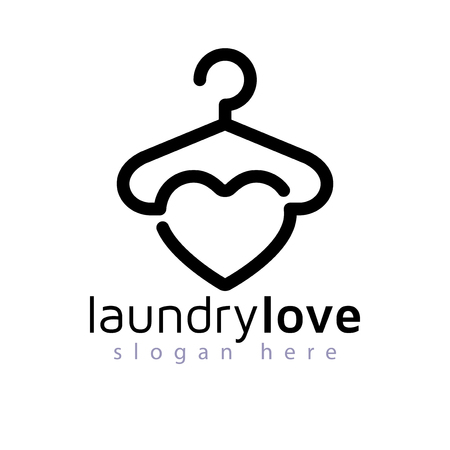 amor elemento de vector de logotipo de lavandería. plantilla de logotipo de lavandería
