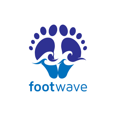 foot and wave logo vector element. foot logo template