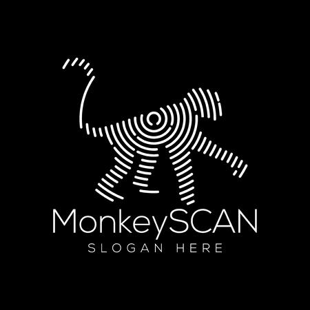 monkey Scan Technology Logo vector Element. Animal Technology Logo Template