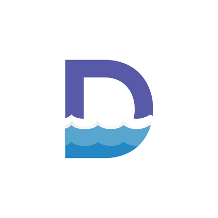 D Letter and creative wave logo vector template Vettoriali