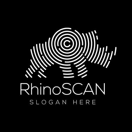 Rhino Scan Technology Logo vector Element. Animal Technology Logo Template Illustration