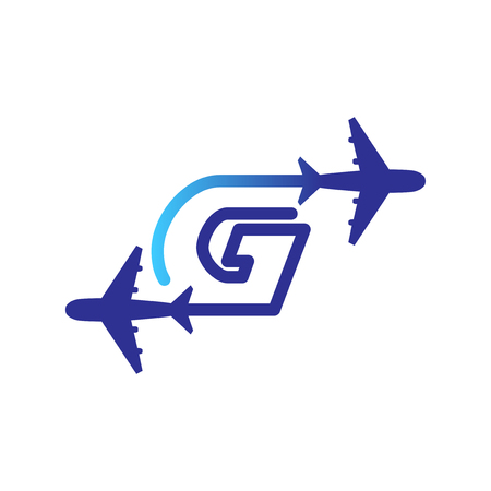 Line Airways G letter logo vector element. Initial Plane Travel logo Template Illustration