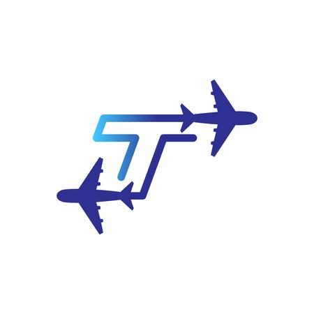 Line Airways T letter logo vector element. Initial Plane Travel logo Template