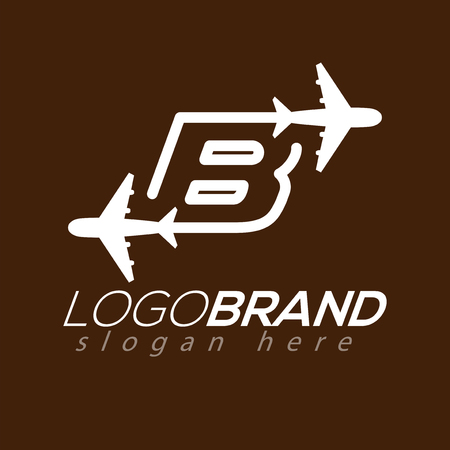 Line Airways B letter logo vector element. Initial Plane Travel logo Template Illustration