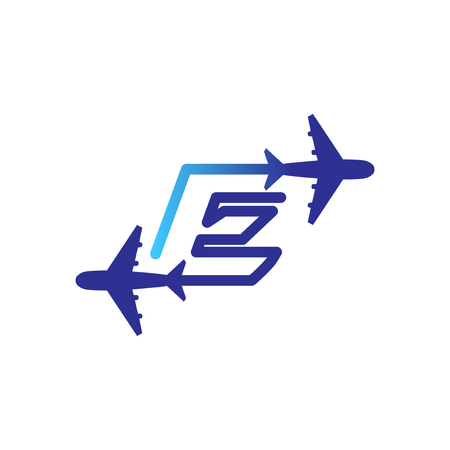 Line Airways E letter logo vector element. Initial Plane Travel logo Template