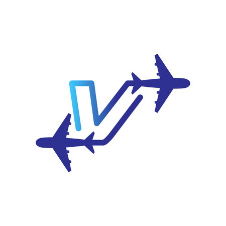 Line Airways V letter logo vector element. Initial Plane Travel logo Template Illustration