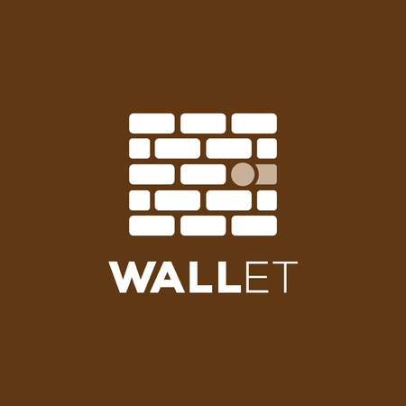 wall and wallet logo vector icon template