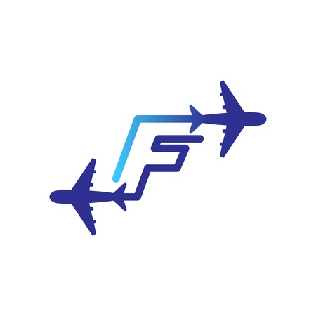 Line Airways F letter logo vector element. Initial Plane Travel logo Template