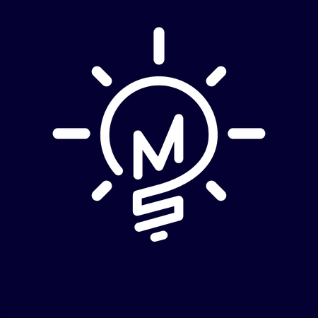 MS Initial Letter with creative bulb Logo vector element. Initial letter bulb Logo Template