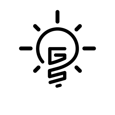 GS Initial Letter with creative bulb Logo vector element. Initial letter bulb Logo Template Illusztráció