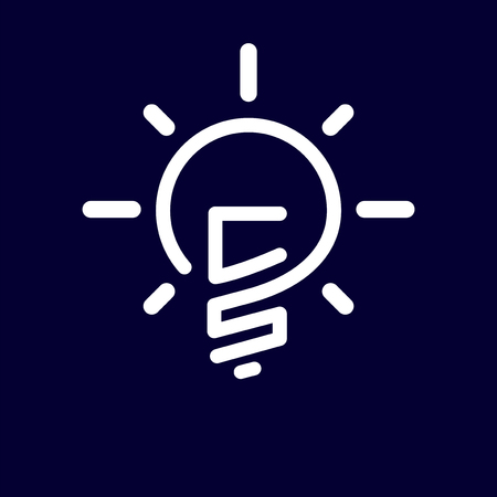 CS Initial Letter with creative bulb Logo vector element. Initial letter bulb Logo Template Logó