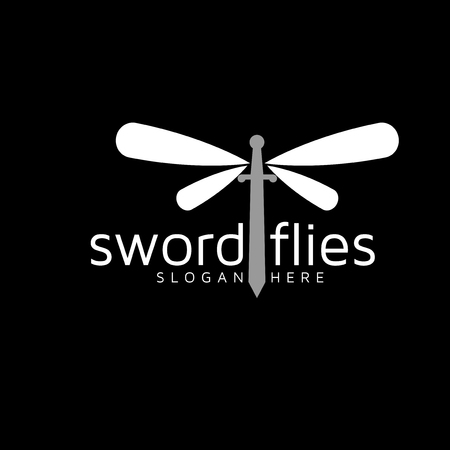 Sword with Dragonfly logo vector template