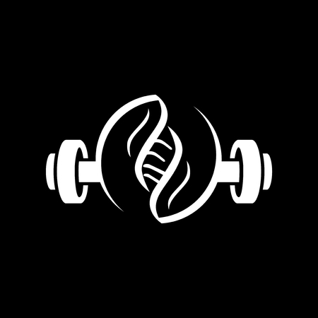 barbell fitness with dna logo icon vector Çizim