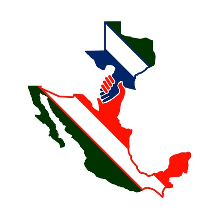 cooperate between mexico with the texas vector. handshake logo