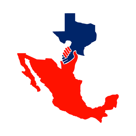 cooperate between mexico with the texas vector. handshake logo Illustration