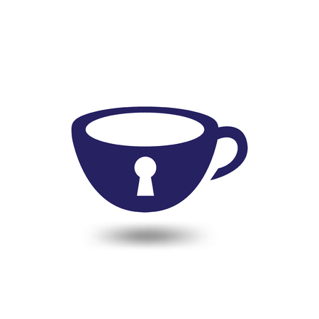 coffee lock key logo icon vector template