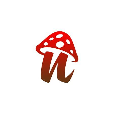 n Letter lowercase mushroom logo icon vector