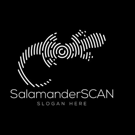 Salamander Scan Technology Logo elemento vectorial. Plantilla de logotipo de tecnología animal Logos