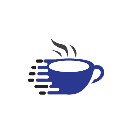 Fast coffee logo icon vector template