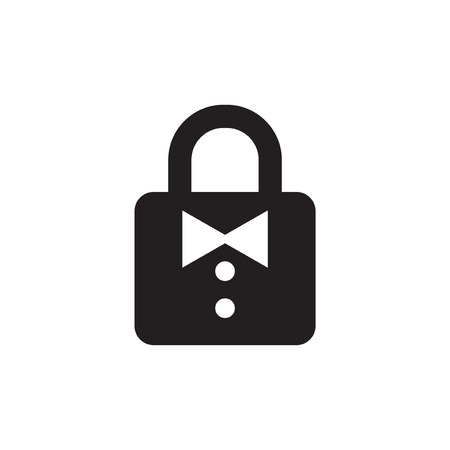 padlock key with bow tie logo icon vector