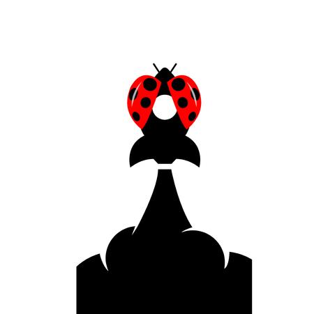 Ladybug rocket logo icon vector