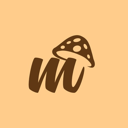 m Letter lowercase mushroom logo icon vector