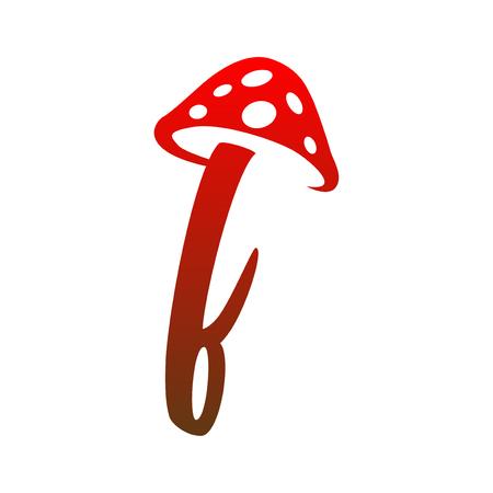 f Letter lowercase mushroom logo icon vector