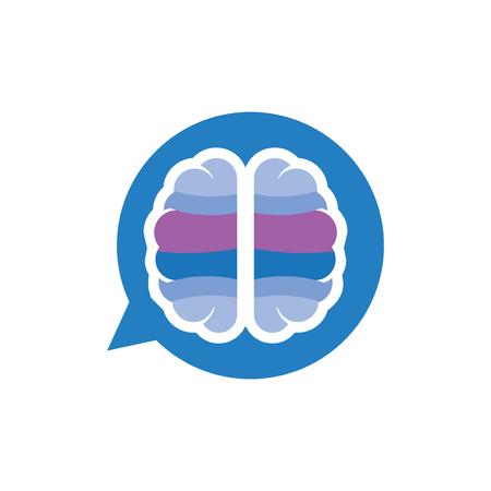 Vector de icono de logotipo de mensaje de charla de cerebro