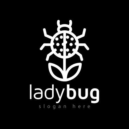 Ladybug flower plant logo line art vector