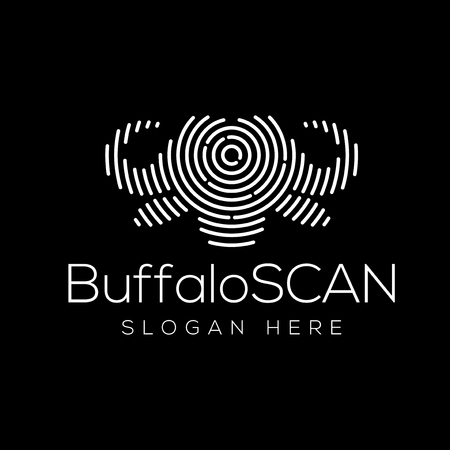 Buffalo Scan Technology Logo vector Element. Animal Technology Logo Template