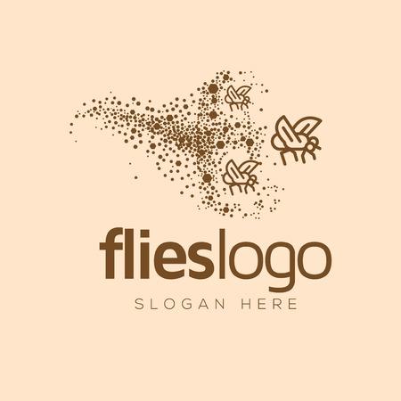 Plantilla de vector de logotipo de arte de línea de enjambre de colonias