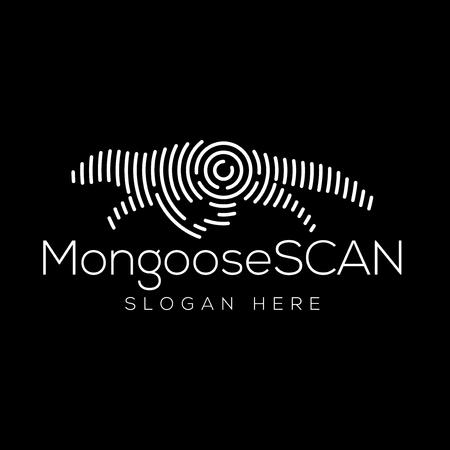 Elemento de vector de logotipo de tecnología de escaneo de mangosta. Plantilla de logotipo de tecnología animal Logos