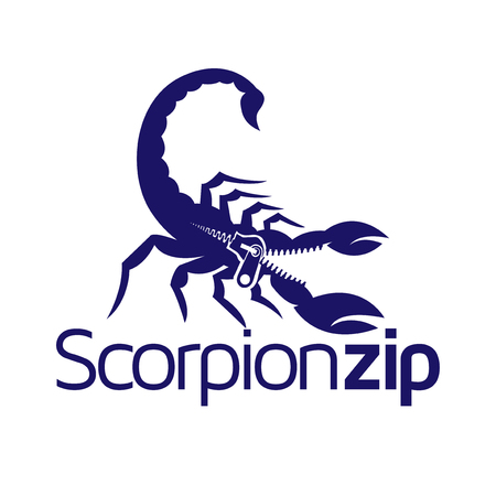 Scorpion with zipper logo icon vector Illustration