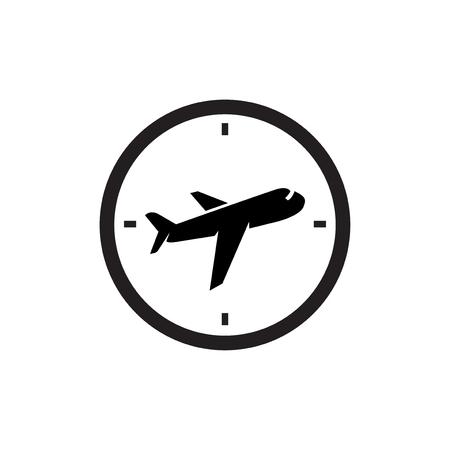 Plane with clock logo icon vector template. plane time logo Ilustração