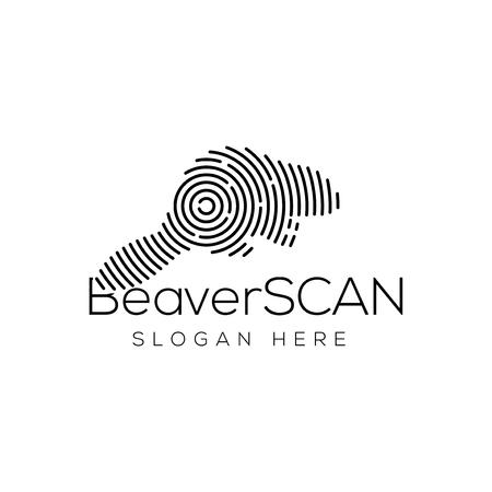 Elemento de vector de logotipo de tecnología de escaneo de castor. Plantilla de logotipo de tecnología animal